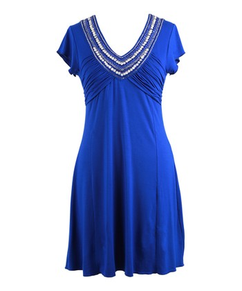 Royal Embellished Short-Sleeve Dress