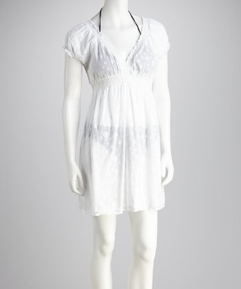 White Shirred-Waist Cover-Up