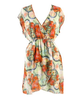 Green & Orange Watercolor Surplice Dress