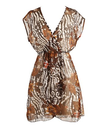Mocha Sheer Surplice Cover-Up - Women