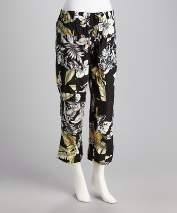 Black Tropical Drawstring Pants