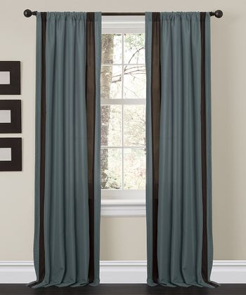 Blue & Brown Charming Curtain Panel - Set of Two