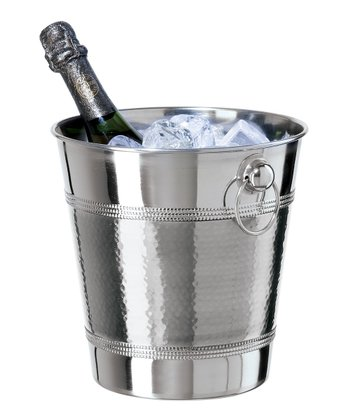 Stainless Steel Hammered & Beaded Champagne Ice Bucket