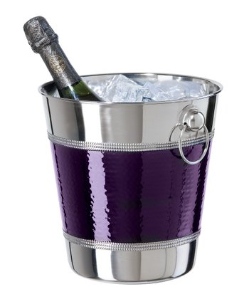 Purple Hammered & Beaded Champagne Ice Bucket