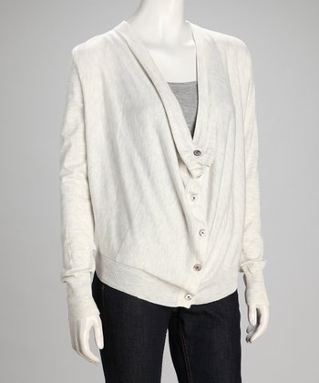 Gray Drape Cardigan - Women