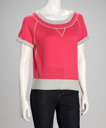 Pink Short-Sleeve Sweatshirt - Women