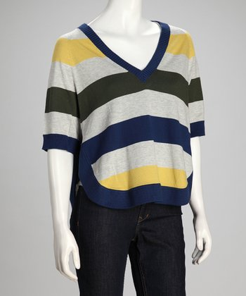 Sapphire Stripe Linen-Blend Cape-Sleeve Top - Women