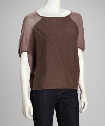 Mocha & Putty Abstract Linen-Blend Dolman Top - Women