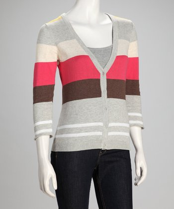 Gold Stripe Linen-Blend Cardigan - Women