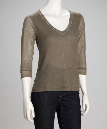 Green The Realist Linen-Blend V-Neck Top - Women