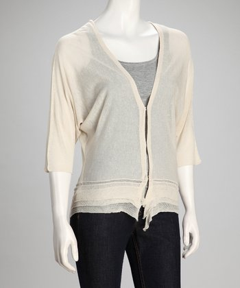 Canvas Sheer Linen-Blend Cardigan - Women