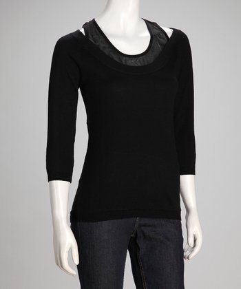 Black Take Tank & Three-Quarter Sleeve Sweater - Women