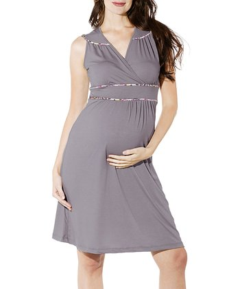 Gray Katherine Maternity Surplice Dress