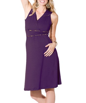 Plum Katherine Maternity Surplice Dress