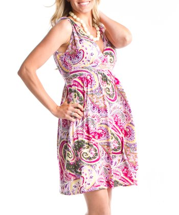 Pink Paisley Summer Maternity Dress