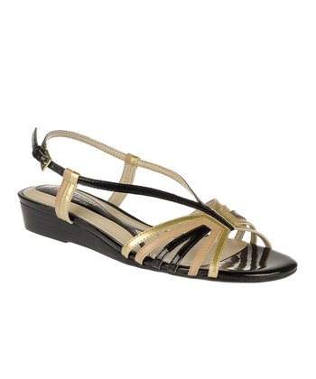 Black Joany Wedge Sandal