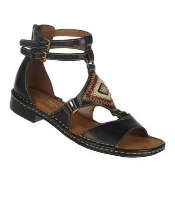 Black Reconnect Leather Gladiator Sandal