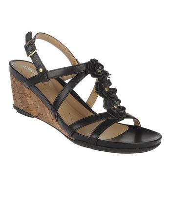 Black Sudi Wedge Sandal