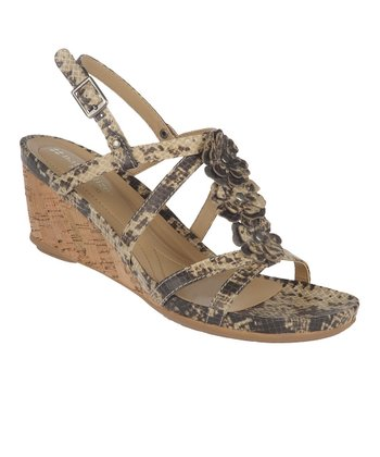 Cream & Black Snake Sudi Wedge Sandal