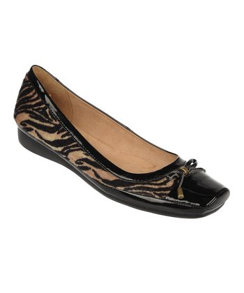 Tan Vercel Animal Print Vision Leather Flat