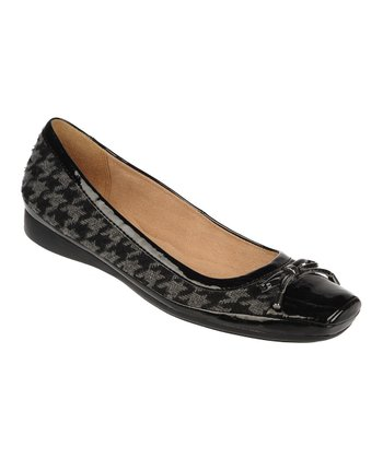 Black Houndstooth Vision Leather Flat
