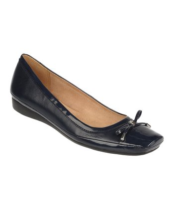 Ink Navy Vision Leather Flat