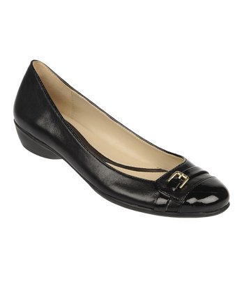 Black Fellini Leather Heath Flat
