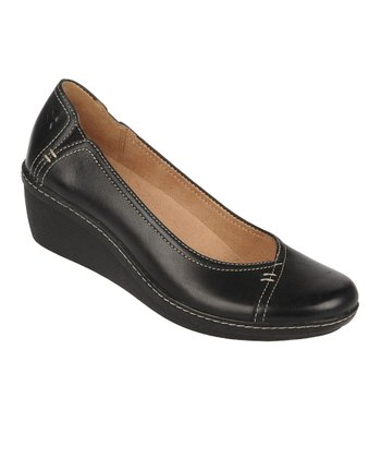 Black Mirage Genie Leather Wedge