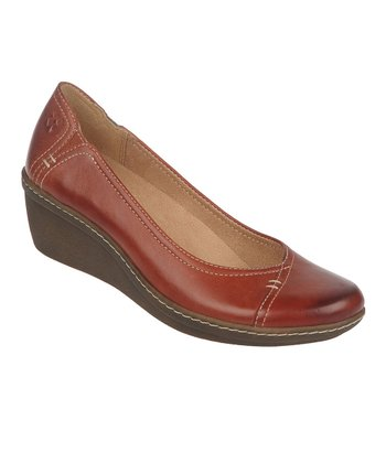 Deep Russet Mirage Genie Leather Wedge