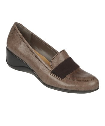 Modern Gray Ashlyn Leather Wedge Loafer