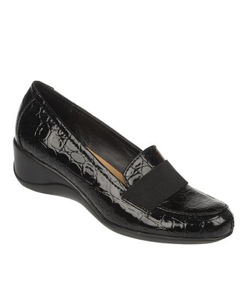 Black Steel Crocco Patent Ashlyn Wedge Loafer