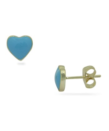 Baby Blue & Gold Heart Stud Earrings