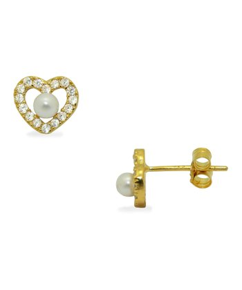 Cubic Zirconia & Pearl Heart Earrings