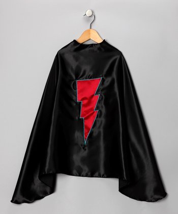 Black & Red Lightning Cape - Kids