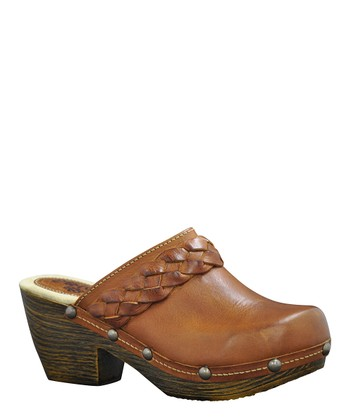 Camel Leather Braiden Clog