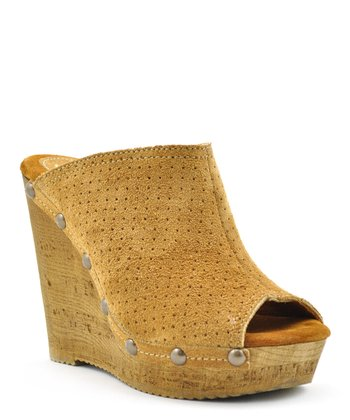 Tan Studded Peep-Toe Wedge