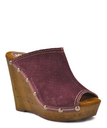 Wine Studded Peep-Toe Wedge