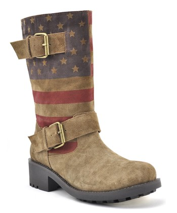 Light Brown Flag Graphic Suede Cooper Boot