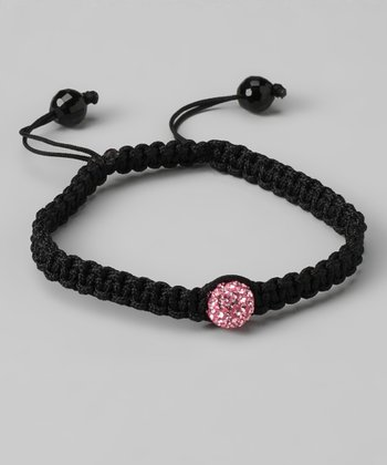 Black Braid & Light Pink Crystal Fireball Bracelet