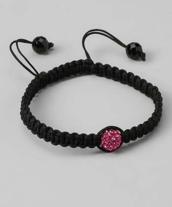 Black Braid & Pink Crystal Fireball Bracelet