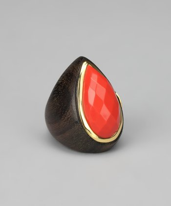 Coral & Gold Teardrop Ring