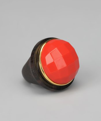 Coral & Gold Faceted Ring