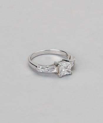 Cubic Zirconia & Sterling Silver Princess Ring