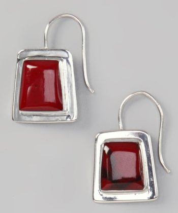 Red Jasper Square Earrings