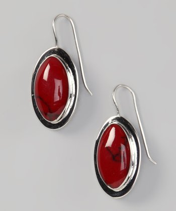 Red Jasper Oval Earrings