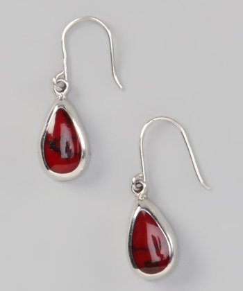 Red Jasper & Sterling Silver Teardrop Inlay Earrings