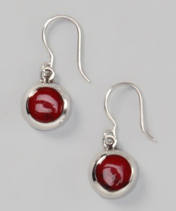 Red Jasper & Sterling Silver Circle Earrings