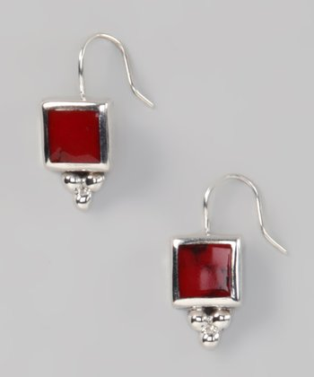 Red Jasper & Sterling Silver Square Earrings
