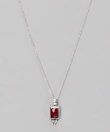 Red Jasper & Sterling Silver Bead Square Necklace
