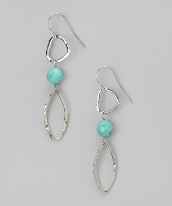 Turquoise & Sterling Silver Open Heart Earrings